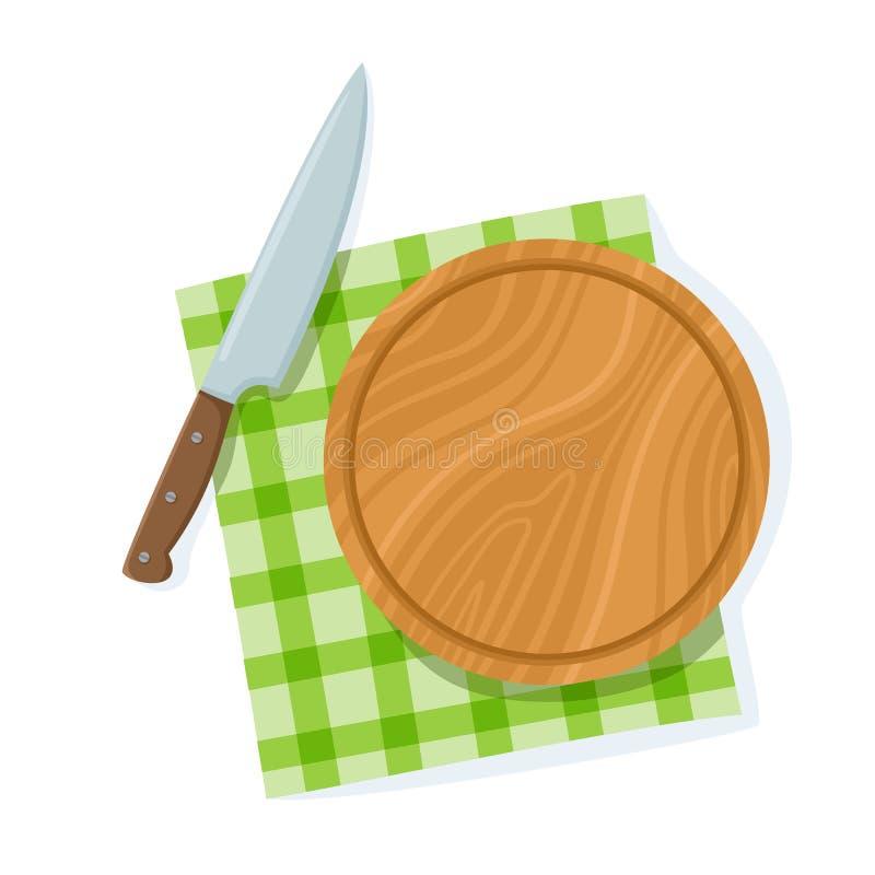 Τέμνων πίνακας κινούμενων σχεδίων, μαχαίρι στην πράσινη πετσέτα που απομονώνεται στο λευκό ελεύθερη απεικόνιση δικαιώματος