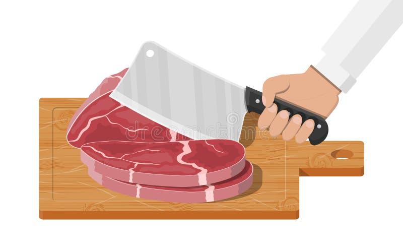 Τέμνων πίνακας, μπαλτάς χασάπηδων και piace του κρέατος διανυσματική απεικόνιση