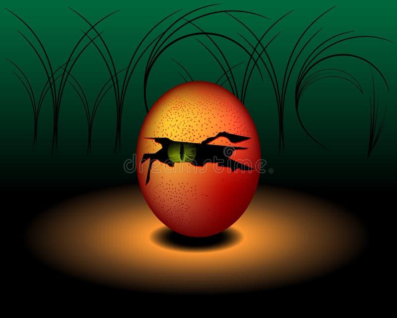 Τέρας ή διάβολος αυγών με το πράσινο μάτι - διανυσματικό σχέδιο απεικόνιση αποθεμάτων