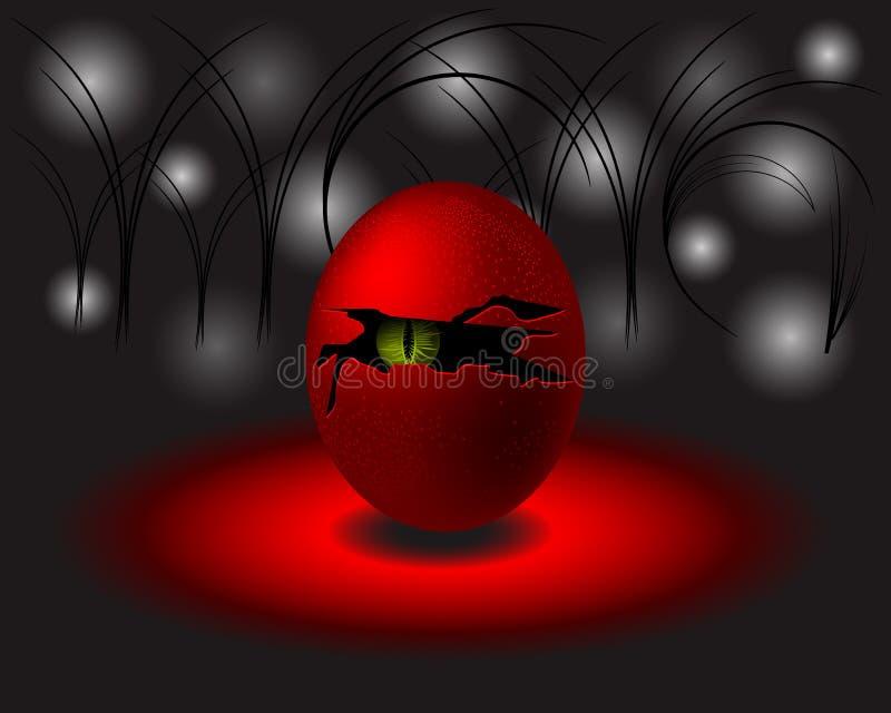 Τέρας ή διάβολος αυγών με το πράσινο μάτι σύγχρονο διάνυσμα σχεδί&omicro απεικόνιση αποθεμάτων