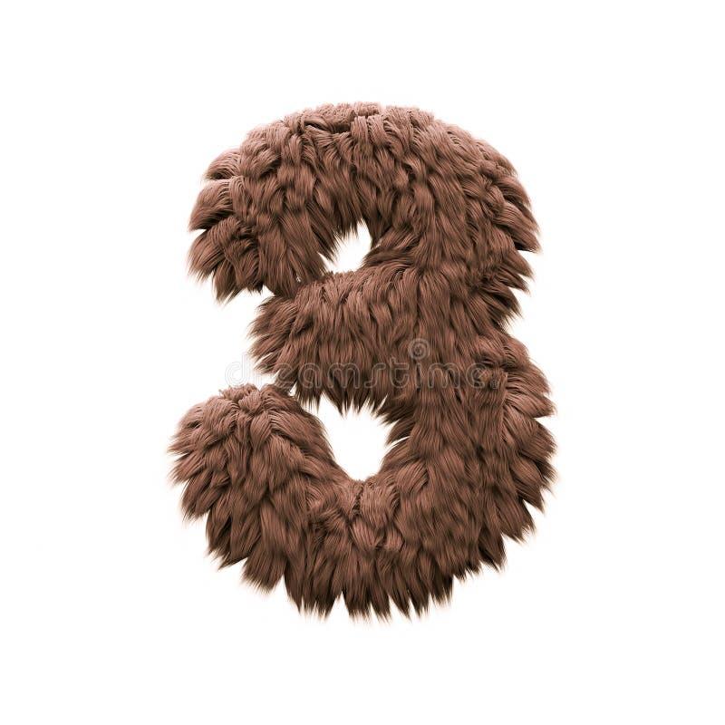 Τέρας αριθμός 3 - τρισδιάστατο ψηφίο αποκριών - φρίκη, yeti ή sasquatch έννοια διανυσματική απεικόνιση