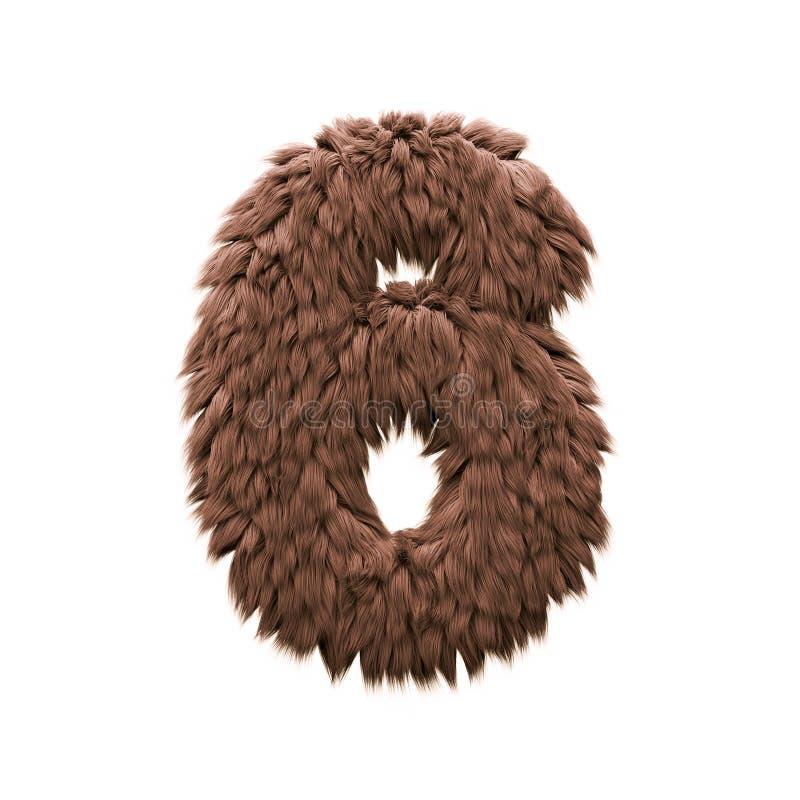 Τέρας αριθμός 6 - τρισδιάστατο ψηφίο αποκριών - φρίκη, yeti ή sasquatch έννοια απεικόνιση αποθεμάτων
