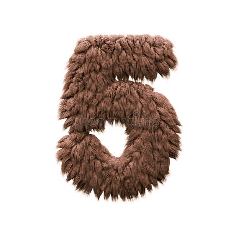 Τέρας αριθμός 5 - τρισδιάστατο ψηφίο αποκριών - φρίκη, yeti ή sasquatch έννοια διανυσματική απεικόνιση