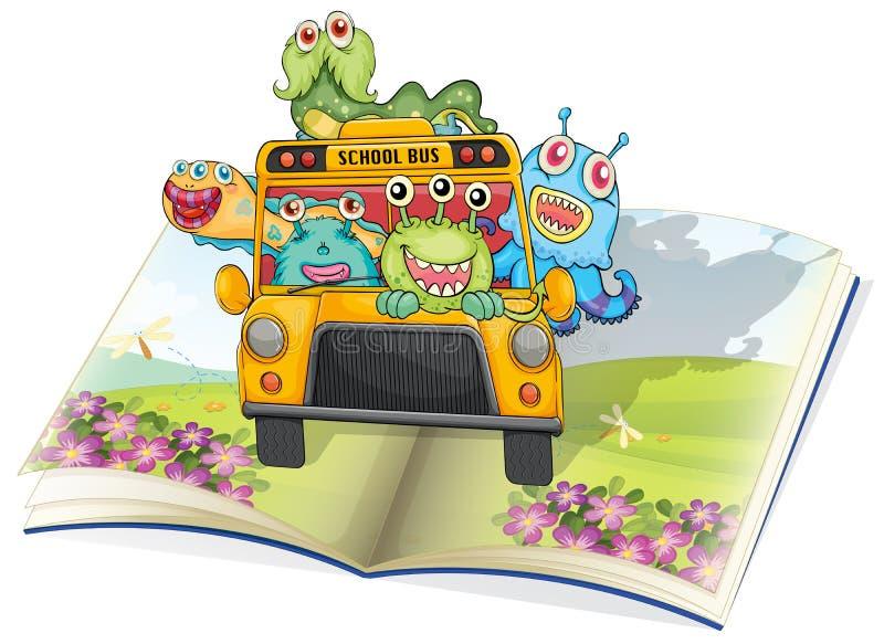 Τέρατα, σχολικό λεωφορείο και βιβλίο ελεύθερη απεικόνιση δικαιώματος