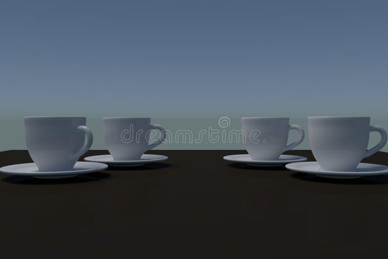 Τέσσερα άσπρα φλυτζάνια καφέ με το πιατάκι σε μια σκοτεινή αντανακλαστική επιφάνεια ελεύθερη απεικόνιση δικαιώματος