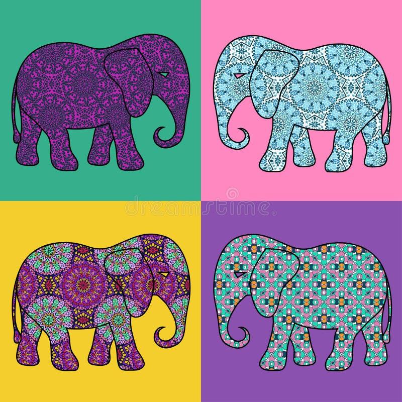 Τέσσερα απομονωμένος διαμορφωμένος ελέφαντας διανυσματική απεικόνιση