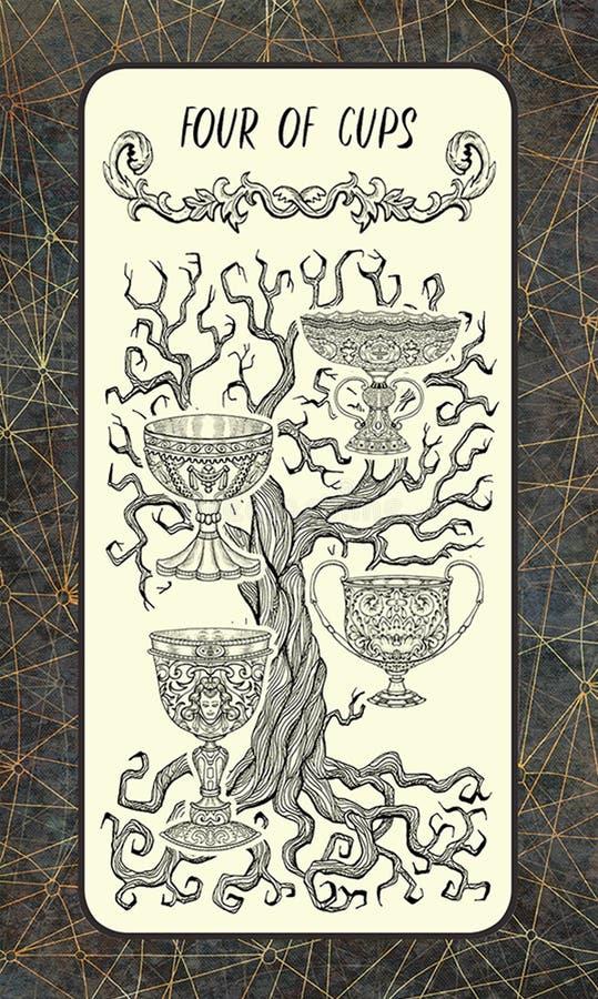 Τέσσερα από τα φλυτζάνια Δευτερεύουσα κάρτα Arcana Tarot απεικόνιση αποθεμάτων