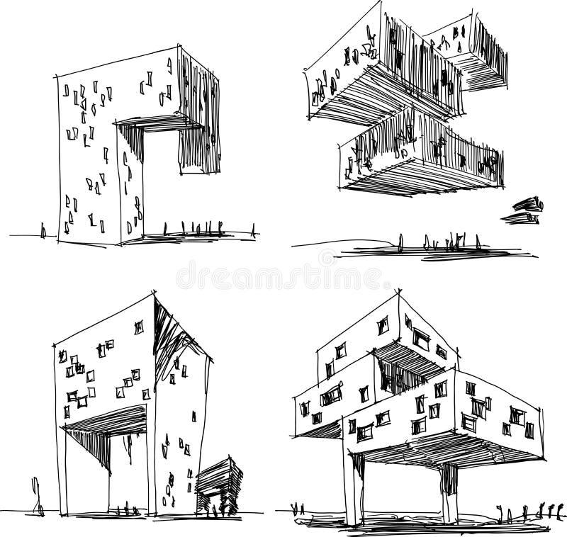 Τέσσερα αρχιτεκτονικά σκίτσα μιας σύγχρονης αφηρημένης αρχιτεκτονικής ελεύθερη απεικόνιση δικαιώματος