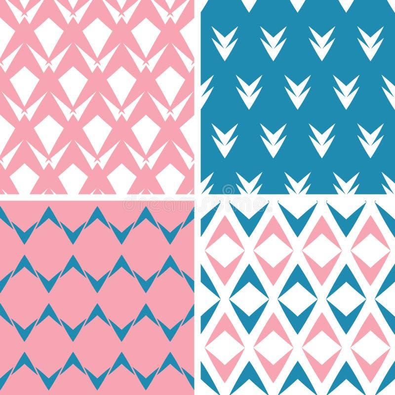 Τέσσερα αφηρημένα ρόδινα μπλε γεωμετρικά ρόδινα άνευ ραφής σχέδια βελών καθορισμένα ελεύθερη απεικόνιση δικαιώματος