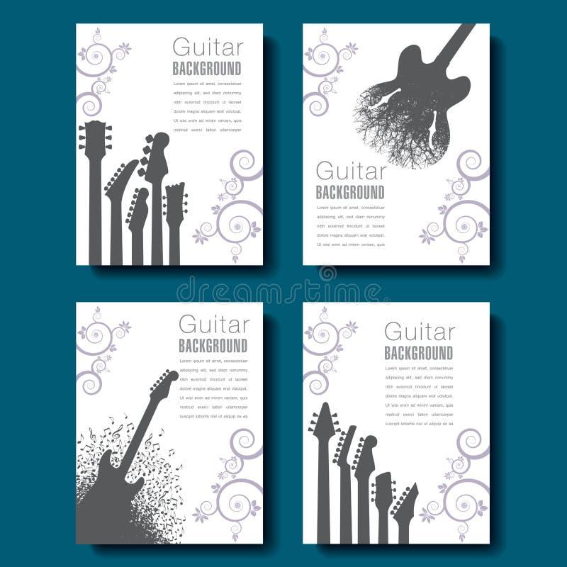 Τέσσερα αφηρημένα υπόβαθρα κιθάρων για να επιλέξει από διανυσματική απεικόνιση