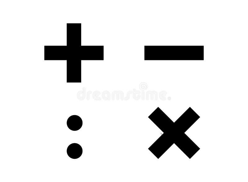Τέσσερα βασικά σύμβολα υπολογισμού math ελεύθερη απεικόνιση δικαιώματος