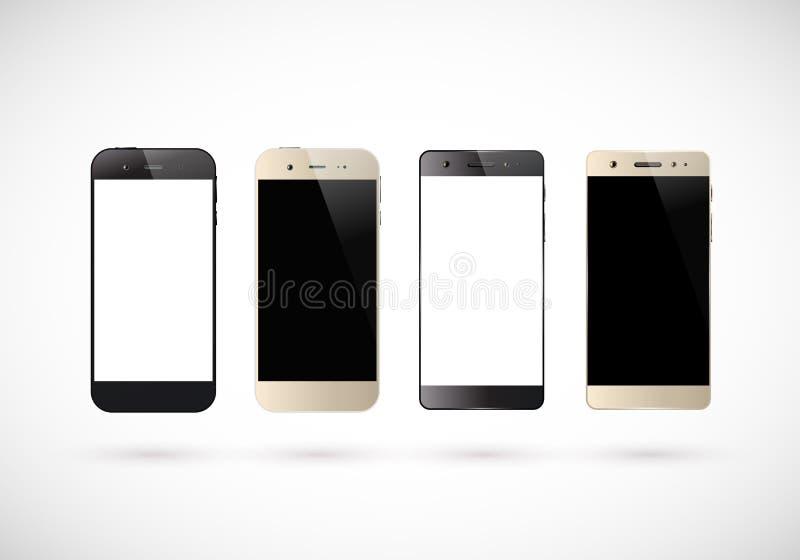 Τέσσερα γραπτά smartphones διανυσματική απεικόνιση