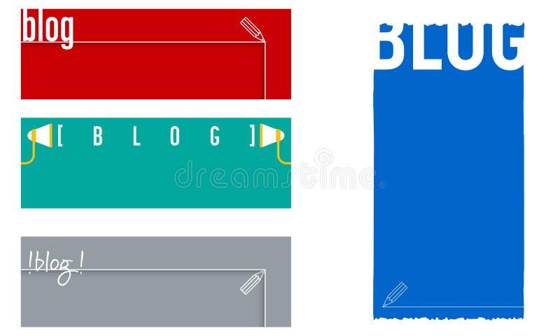 Τέσσερα διανυσματικά εμβλήματα με το θέμα του blog ελεύθερη απεικόνιση δικαιώματος