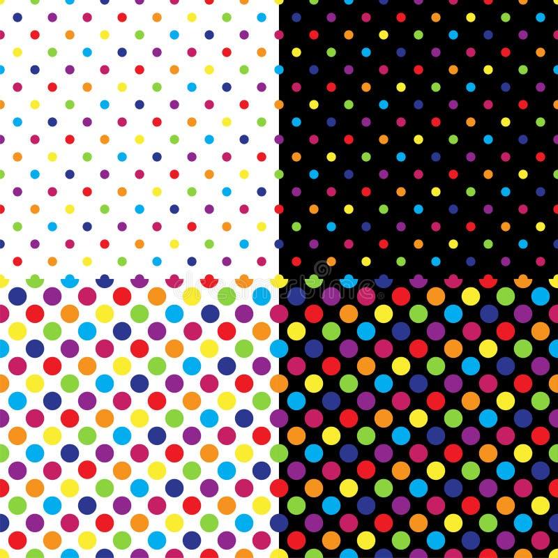 Τέσσερα διαφορετικά άνευ ραφής ζωηρόχρωμα σχέδια σημείων Πόλκα επίσης corel σύρετε το διάνυσμα απεικόνισης ελεύθερη απεικόνιση δικαιώματος