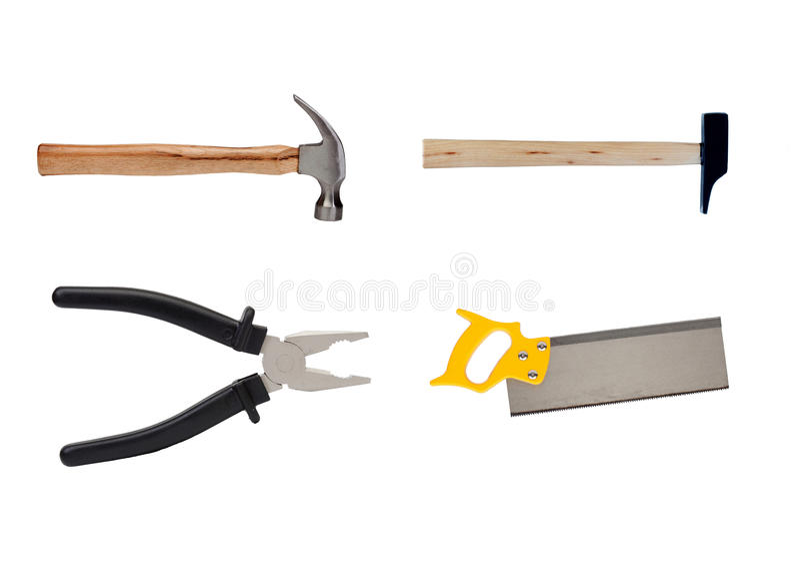 Τέσσερα εργαλεία στη βιομηχανία ξυλουργικής στοκ εικόνες