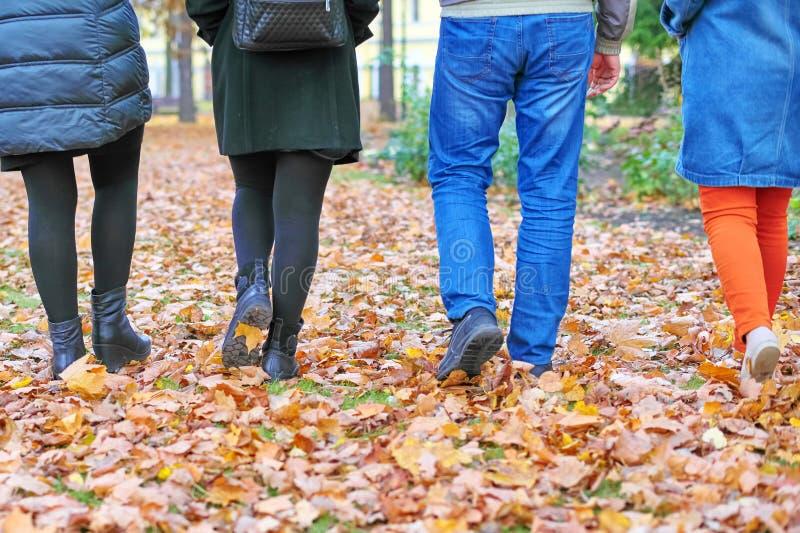 Τέσσερα ζευγάρια του αρσενικού και του θηλυκού ποδιών πηγαίνουν στα φύλλα φθινοπώρου στοκ φωτογραφία με δικαίωμα ελεύθερης χρήσης
