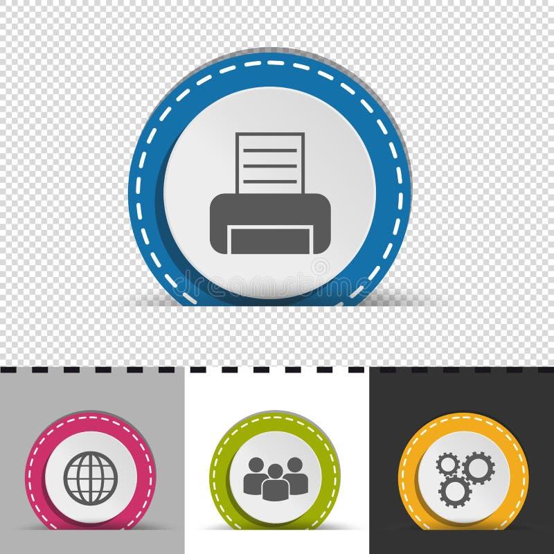 Τέσσερα ζωηρόχρωμα στρογγυλά επιχειρησιακά κουμπιά Infographic - εκτυπωτής, κόσμος, άνθρωποι, εργαλεία - διανυσματική απεικόνιση  απεικόνιση αποθεμάτων