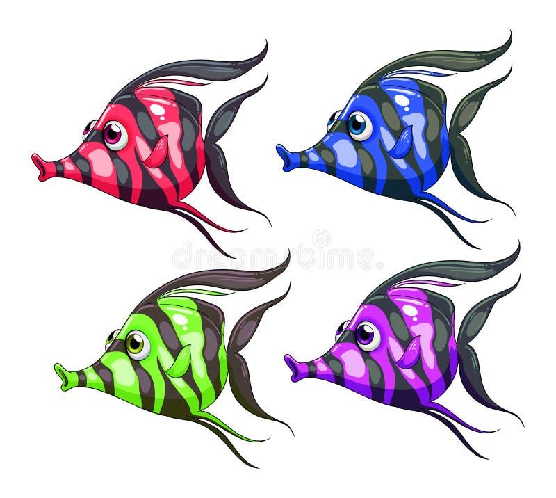 Τέσσερα ζωηρόχρωμα ψάρια διανυσματική απεικόνιση