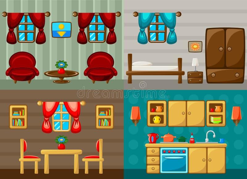 Τέσσερα διανυσματικά δωμάτια - κρεβατοκάμαρα, σαλόνι, τραπεζαρία και κουζίνα απεικόνιση αποθεμάτων