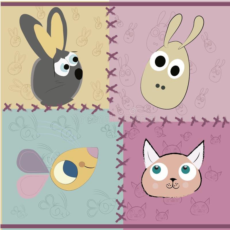 Τέσσερα διαφορετικά πρόσωπα των κατοικίδιων ζώων ελεύθερη απεικόνιση δικαιώματος