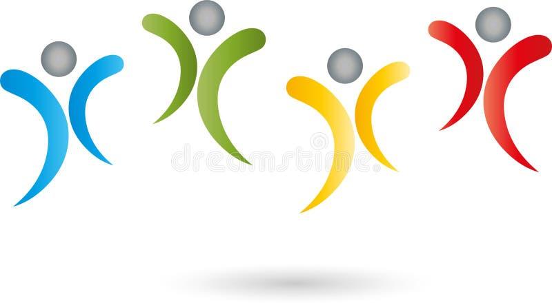 Τέσσερα λογότυπο προσώπων, ανθρώπων, ομάδων και οικογενειών ελεύθερη απεικόνιση δικαιώματος