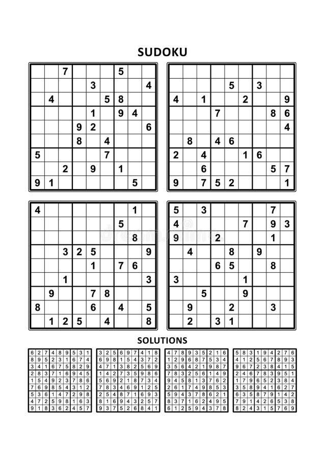 Τέσσερα παιχνίδια sudoku με τις απαντήσεις Σύνολο 11 διανυσματική απεικόνιση