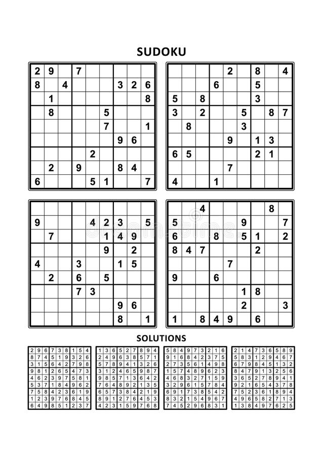 Τέσσερα παιχνίδια sudoku με τις απαντήσεις Σύνολο 12 ελεύθερη απεικόνιση δικαιώματος