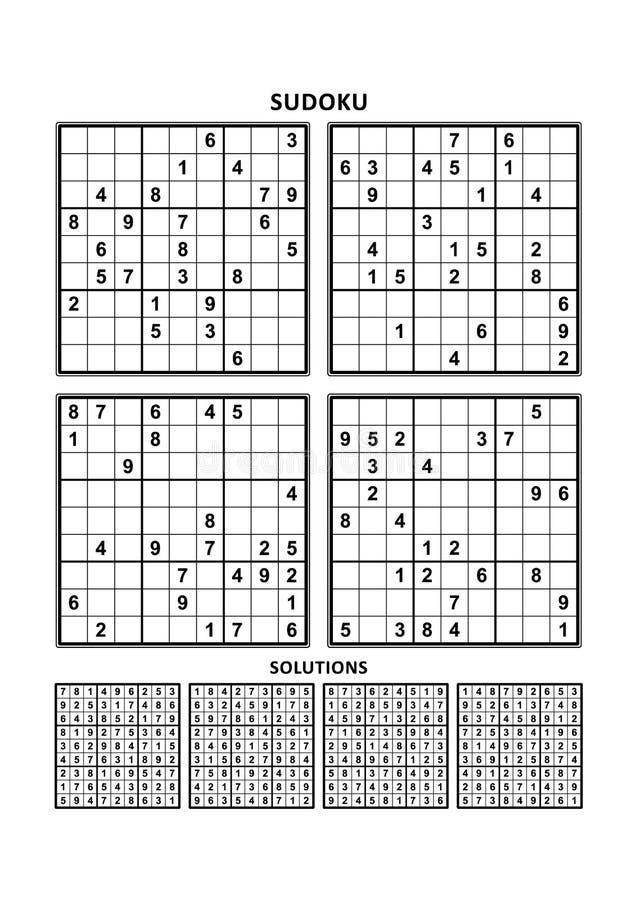 Τέσσερα παιχνίδια sudoku με τις απαντήσεις απεικόνιση αποθεμάτων