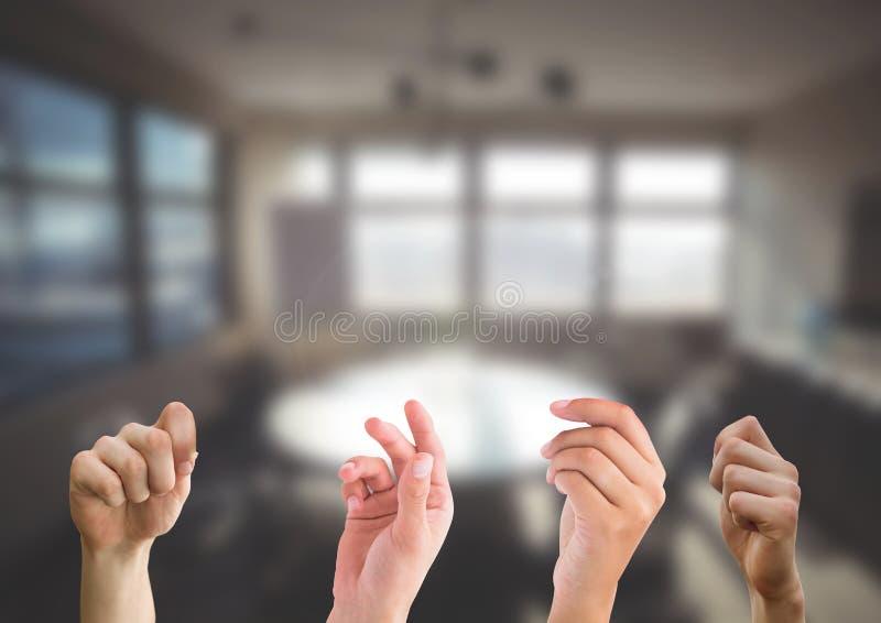 Τέσσερα παραδίδουν το γραφείο στοκ εικόνα