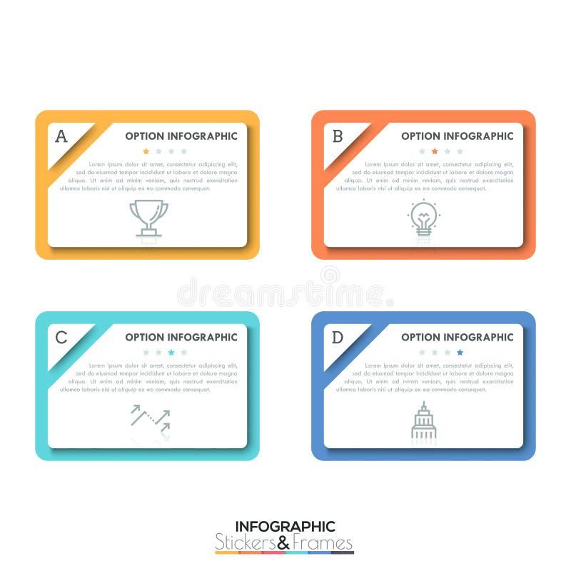 Τέσσερα πολύχρωμα ορθογώνια στοιχεία με τα παράθυρα κειμένου, τα λεπτά σύμβολα γραμμών και την ένδειξη εκτίμησης μέσα, 4 που αξιο απεικόνιση αποθεμάτων