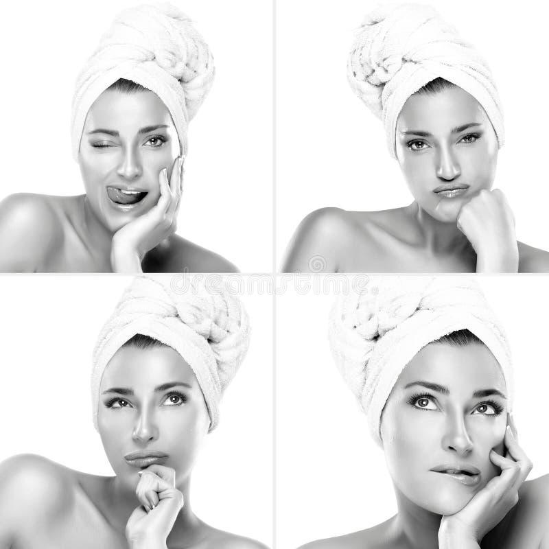 Τέσσερα πορτρέτα ομορφιάς μιας πανέμορφης γυναίκας με την πετσέτα στο κεφάλι στοκ εικόνες με δικαίωμα ελεύθερης χρήσης