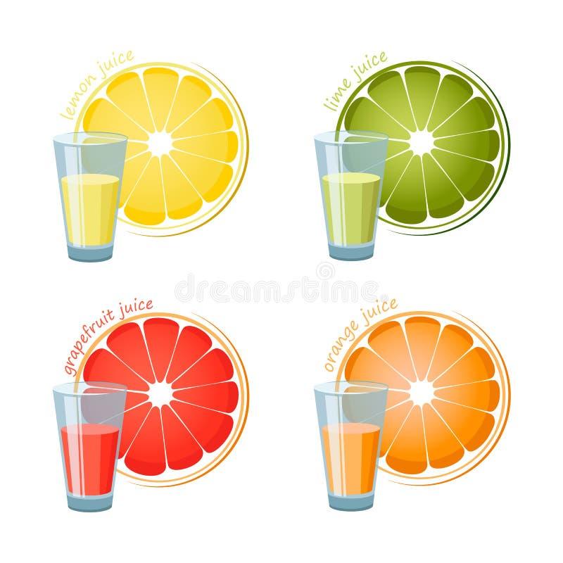 Τέσσερα ποτήρια του χυμού και μιας φέτας που απομονώνεται στο άσπρο backdround ελεύθερη απεικόνιση δικαιώματος