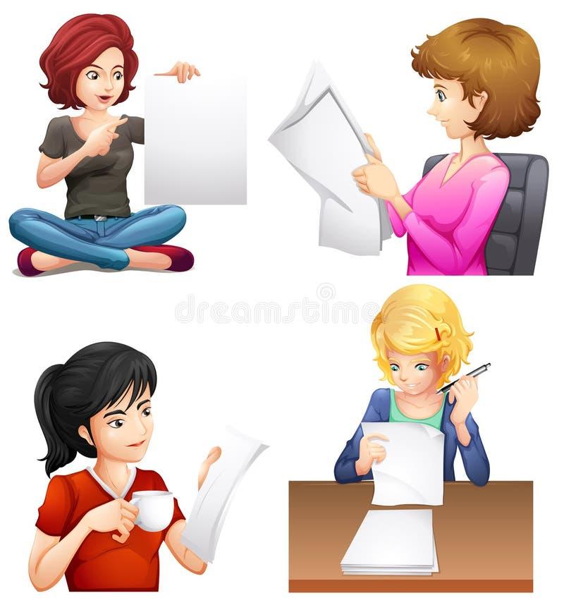 Τέσσερα πολυάσχολα θηλυκά ελεύθερη απεικόνιση δικαιώματος