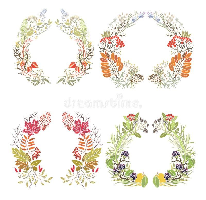 Τέσσερα πλαίσια φθινοπώρου διανυσματική απεικόνιση
