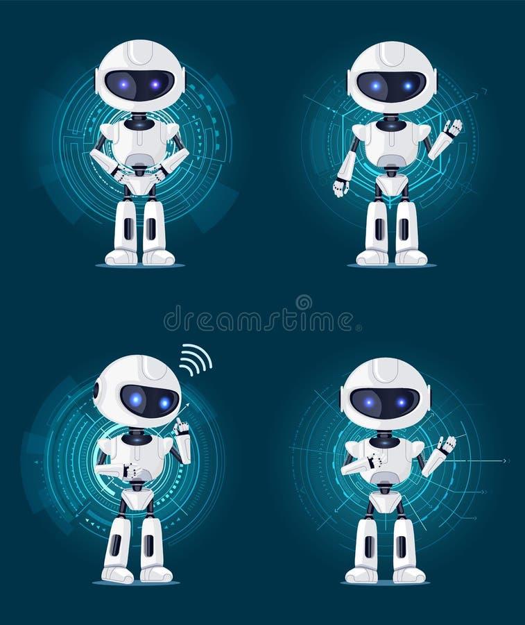 Τέσσερα ρομπότ που απομονώνονται στις διεπαφές Futurisctic απεικόνιση αποθεμάτων