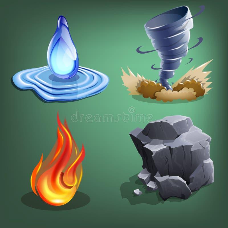 Τέσσερα στοιχεία για τα παιχνίδια διανυσματική απεικόνιση