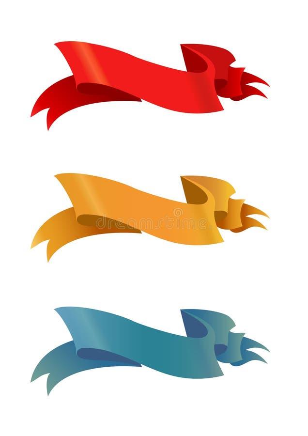 Τέσσερα σχέδια κορδελλών χρώματος στοκ εικόνες