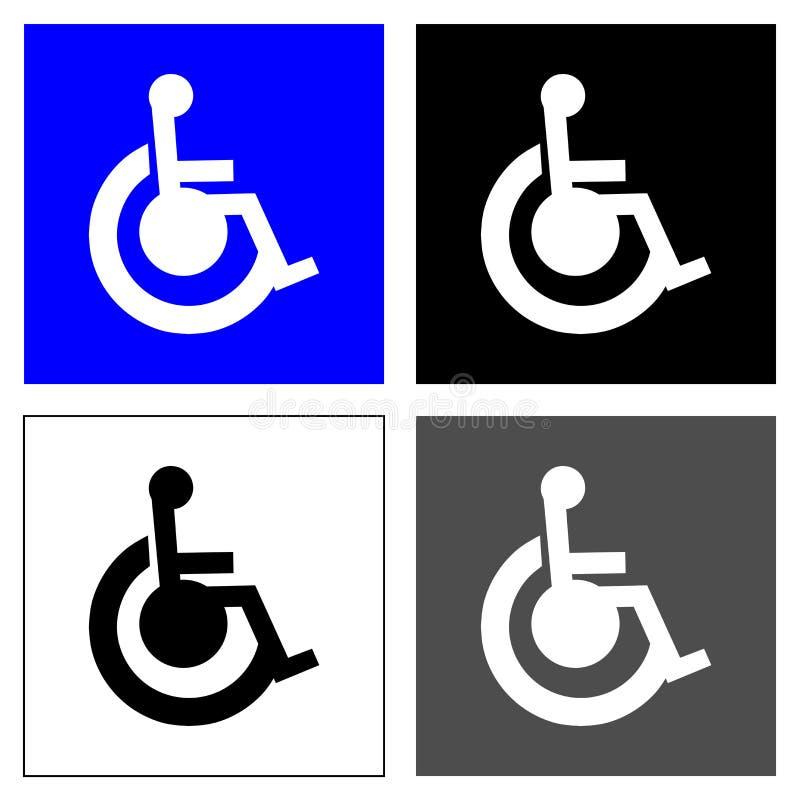 Τέσσερα τετράγωνα αναπηρικών καρεκλών απεικόνιση αποθεμάτων