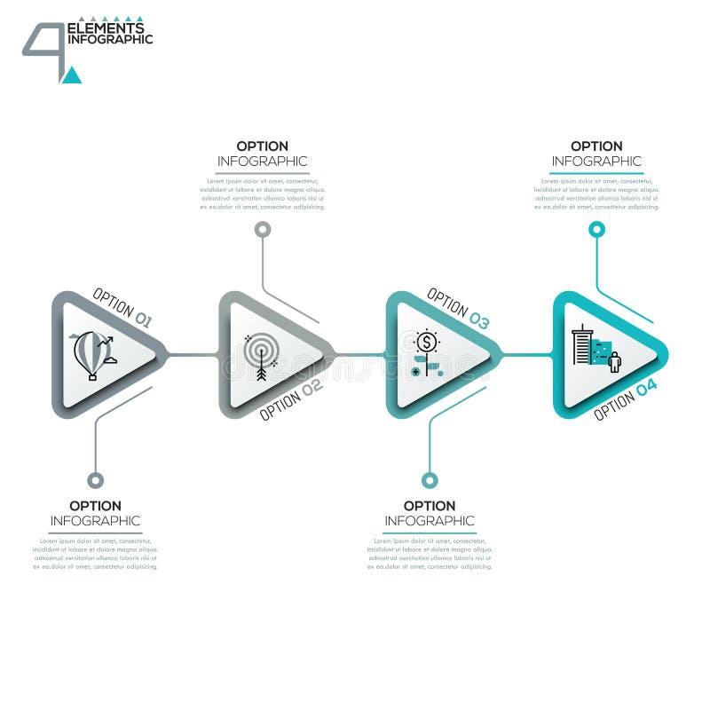 Τέσσερα τριγωνικά στοιχεία ή βέλη με τα εικονογράμματα στα λεπτά παράθυρα ύφους και κειμένου γραμμών ελεύθερη απεικόνιση δικαιώματος