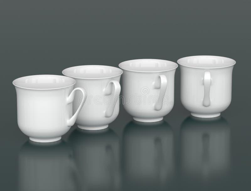 Τέσσερα φλυτζάνια πορσελάνης που τακτοποιούνται από το τόξο διανυσματική απεικόνιση