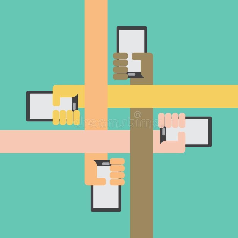 Τέσσερα όπλα χρώματος με το διαθέσιμο χέρι smartphone εσωτερικό απεικόνιση αποθεμάτων