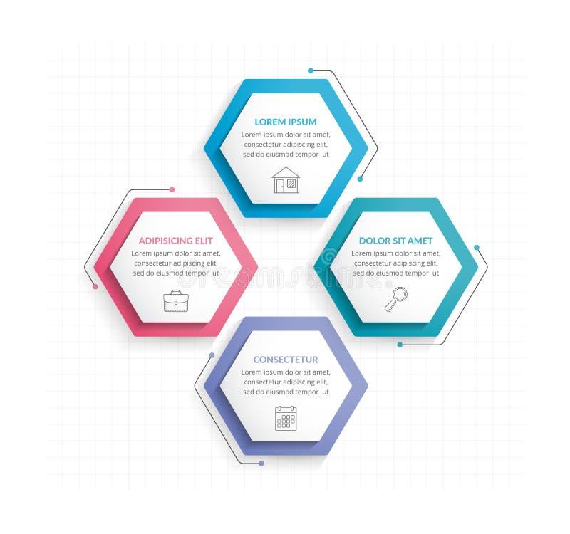 Τέσσερα Hexagons ελεύθερη απεικόνιση δικαιώματος