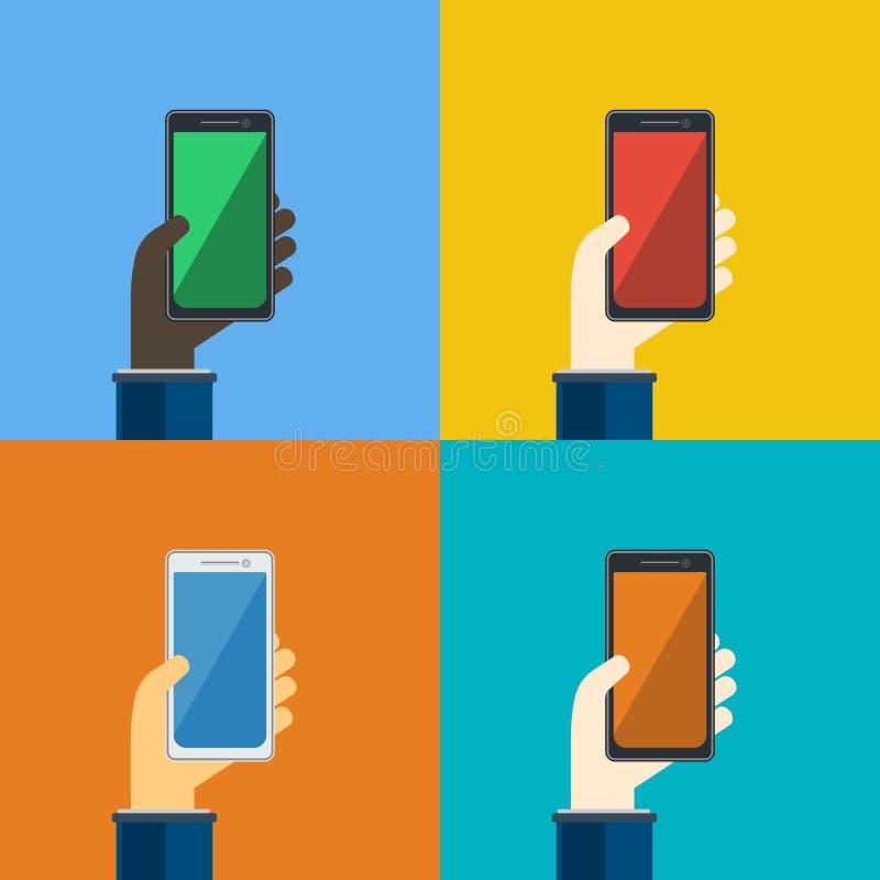 Τέσσερα smartphones στα χέρια επίσης corel σύρετε το διάνυσμα απεικόνισης ελεύθερη απεικόνιση δικαιώματος