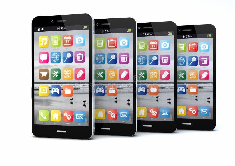 Τέσσερα smartphones διανυσματική απεικόνιση