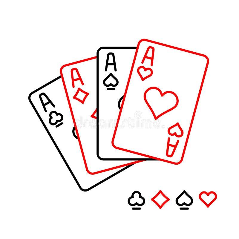Τέσσερις άσσοι που παίζουν την απεικόνιση ύφους γραμμών καρτών απεικόνιση αποθεμάτων