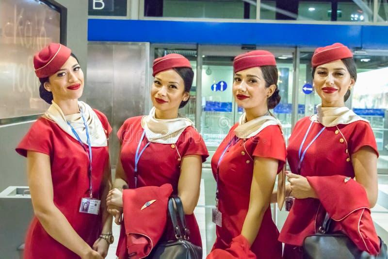 Τέσσερις αεροσυνοδοί Ellinair που περιμένουν την πτήση τους στοκ φωτογραφίες με δικαίωμα ελεύθερης χρήσης