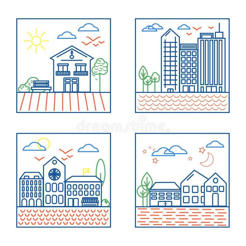 Τέσσερις απεικονίσεις τοπίων πόλεων ελεύθερη απεικόνιση δικαιώματος