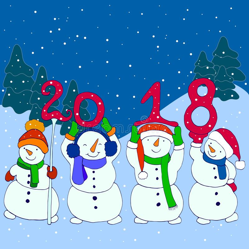Τέσσερις αστείοι χιονάνθρωποι κρατούν το νέο έτος αριθμών το 2018, ύφος κινούμενων σχεδίων απεικόνιση αποθεμάτων