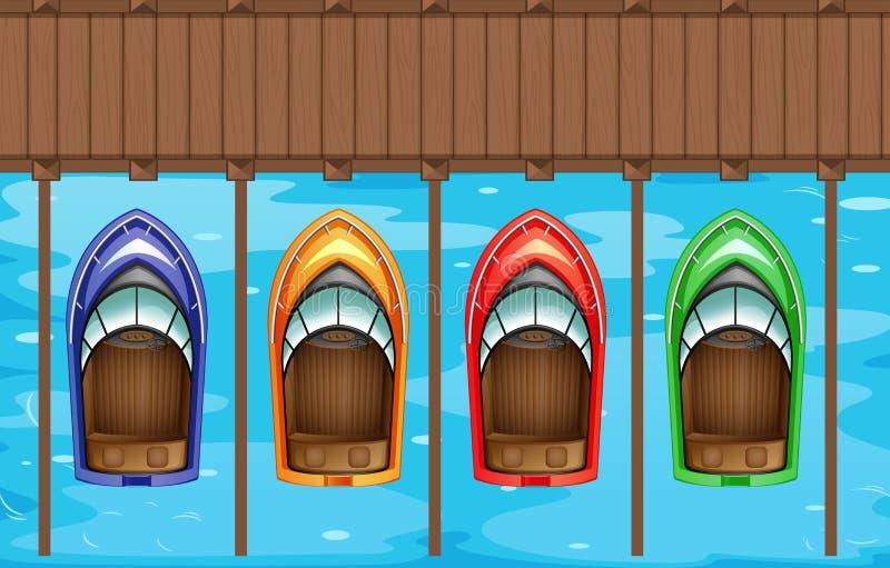 Τέσσερις βάρκες που σταθμεύουν στην αποβάθρα διανυσματική απεικόνιση