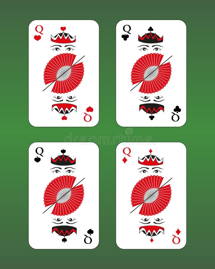 τέσσερις βασίλισσες Κάρτα παιχνιδιού διανυσματική απεικόνιση